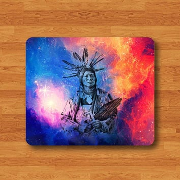 Tribal Indian Man Aztec Art Galaxy Red Drawing Painting Mouse Pad MousePad Desk Deco Work Pad Mat Rectangle Personal Christmas Gift
