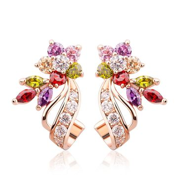BAMOER Rose Gold Plated Flower Design Multicolor Cubic Zirconia Stud Earrings for Women Girls CZ Jewelry