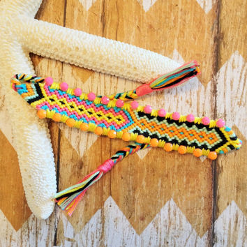 OOAK Mini Woven Friendship Bracelet with Neon Pink and Orange Rhinestones | Perfect for Layering | Boho Glam Arm Candy