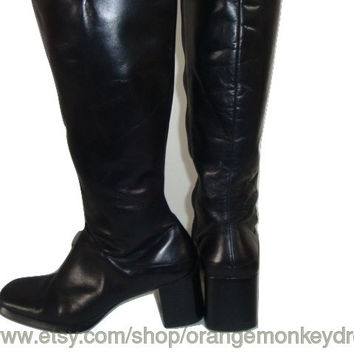 vintage made in Brazil Black leather knee CAMPUS boots hipster indie boho women size 8 1/2 US 39