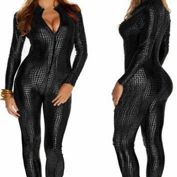 2016 Women Nightclubs Black Leather Sexy Body Suits for Pole Dancing Clothes Leotard Snakeskin Pattern Bodysuit Catsuit Clubwear