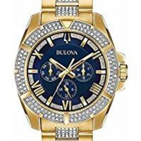 Men's 'Swarovski Crystal' Quartz Stainless Steel Casual Watch, Color:Two Tone (Model: 98C128)