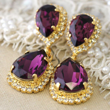 Purple Amethyst Chandelier earrings, Swarovski Crystal statement earrings, dangle earrings, Bridal purple violet chandelier earrings.