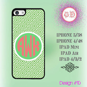 USA Custom Fresh Green Puzzled Pattern Monogram @ IPhone 5 Case , IPhone 5S Case , IPhone 4 Case ,  IPhone 4S Case , IPad Smart Cover  #10