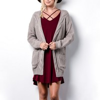late at night open front cable knit cardigan sweater - light mocha