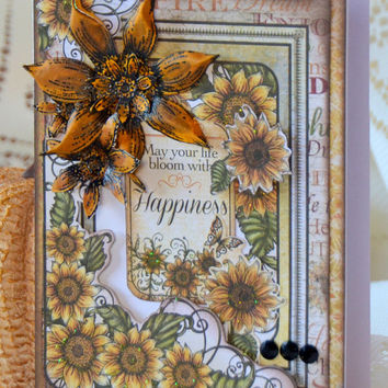 Handmade Vintage Inspired Sunflower Any Occasion Greeting Card, Thanksgiving Note, Thinking of You, Just Because, One of a Kind Paper Craft