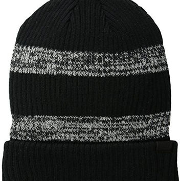 Levi's Men's Wide Cable Knit Two-Toned Striped Beanie, Black/Gray, One Size
