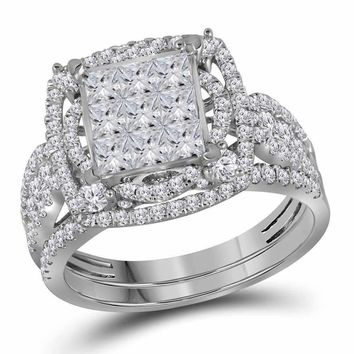14kt White Gold Women's Princess Diamond Bridal Wedding Engagement Ring Band Set 2.00 Cttw - FREE Shipping (US/CAN)