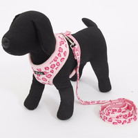 Pet Dog Adjustable Collar and Leads Cat Leopard Harness Cute Safety Control Size S/M for Small Medium Pet Dog Animal Pink Beige
