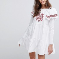 Fashion Union Embroidered Smock Dress With Exaggerated Sleeves at asos.com