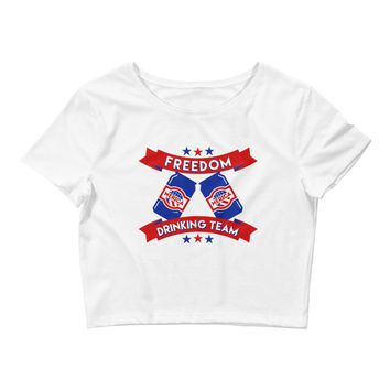 Freedom Drinking Team 4th Of July - Women's Crop Top Tee