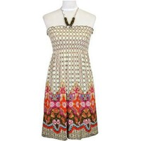 Boho Brown & Pink Print Wood Beaded Halter Summer Dress