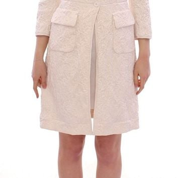 White Brocade Jaquard Long Jacket Coat Blazer