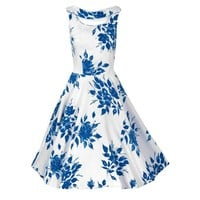 1950's Blue-Roses Floral Cut-Out Bodice Full Circle-Skirt Sun Dress
