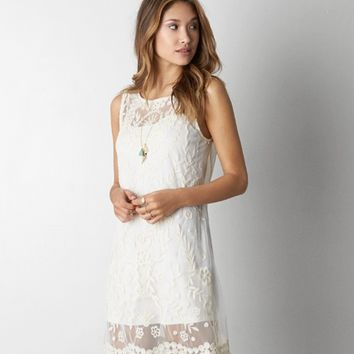 AEO LAYERED EMBROIDERED DRESS