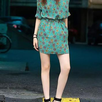 Womens Fit and Flare Dress - Kimono Style / Green Pink Flowery Print