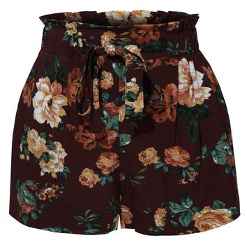 LE3NO Womens Stretchy Floral Print High Waisted Paperbag Short Pants