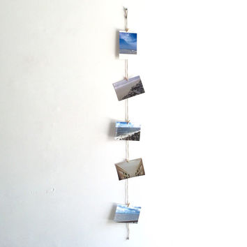 Vertical Twine Photo Holder w/ Clothes Pins - Photos, Rustic, Wedding, Decor, Home, Card Display, Pictures, Gift, String, Banner, Party
