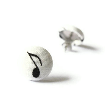 Eighth Note Quaver Musical Note Sign Fabric Covered Button Earrings