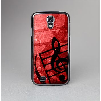 The Scratched Red Surface with Black Music Note Skin-Sert Case for the Samsung Galaxy S4