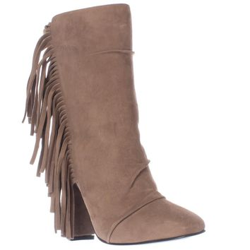 Guiseppe Zanotti Alabama Side Fringe Square Toe Pull On Ankle Boots, Lepre, 10 US / 40 EU