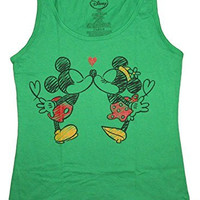 Disney Juniors Mickey & Minnie Kissing Tank Top (Large, Green)