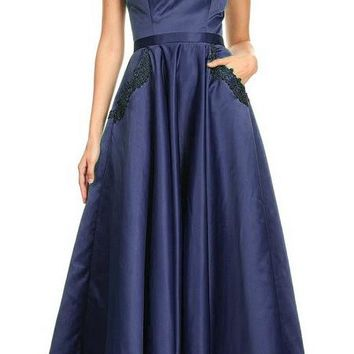 Navy Blue Off-Shoulder Long Prom Dress with Pockets