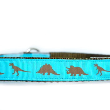 Dino Blue Dog Collar, 3/4 or 1 inch wide, buckle or martingale style, brown, turquoise, boy collar, brown, T Rex, triceratops, stegosaurus