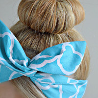Quatrefoil Dolly bow, hair bow head band, hair bow