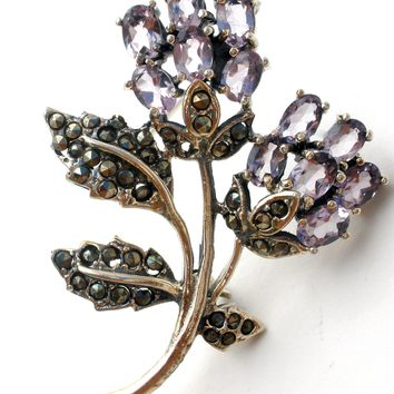 Amethyst Flower Brooch Pin in Sterling Silver
