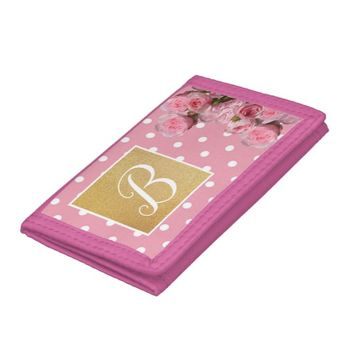 Pink Polkadot and Peonies Trifold Wallet | Zazzle.co.uk