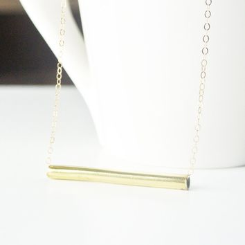 Tia - Brass Gold Tube Necklace on 14kt Gold Filled Chain - 1 1/4 inch long tube - Gold Bar