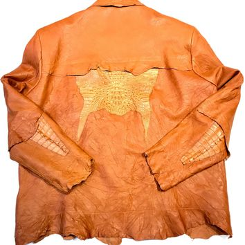 Kashani LUX Cognac Raw Cut Alligator Lambskin Bomber Jacket