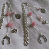 Pink love luck and happiness  heart chakra bookmark  rose quartz
