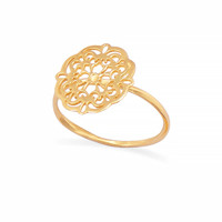 14K Gold Plated Ornate Cut Out Design Ring