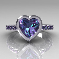 Classic Bridal 14K White Gold 2.10 Carat Heart Alexandrite Ring R314-14WGAL
