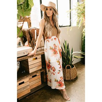 Up to It Floral Print Pleated Maxi Skirt (Light Beige)