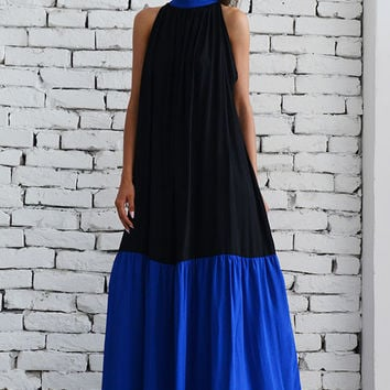 SALE Black Maxi Dress/Plus Size Kaftan/Long Blue Dress/Loose Casual Dress/Oversize Black Dress/Plus Size Maxi Dress/Sleeveless Collar Dress
