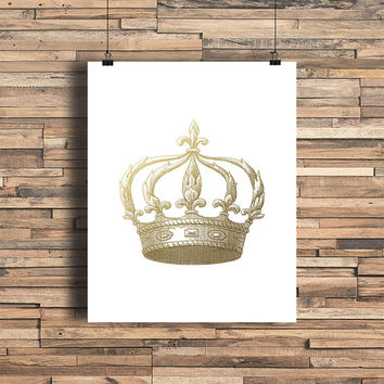 Crown Faux Gold Foil Art Print - Vintage Engraving - Bedroom Decor - Bathroom- Housewarming Gift - Wedding Gift - Baby Nursery Decor - Queen