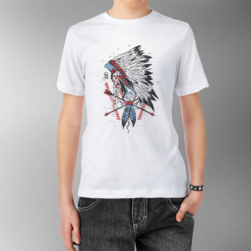 Native American Indian Chief Feather Headdress whit arrows White 100% cotton T shirt T-shirt Tee Digital Print