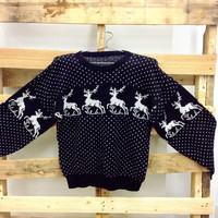 Vintage Christmas Sweater- Black with Reindeer