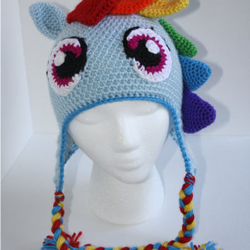 Rainbow Pony Crochet Hat / Cute, Silly, Handmade, Rainbow Pony, Crochet Pony Hat (MADE TO ORDER)