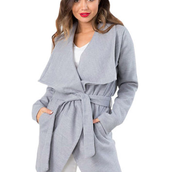 Gray Square Collar Long Sleeve Belted Trench Coat