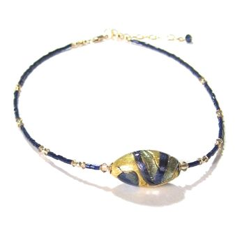 Murano Glass Navy Blue Beaded Gold Necklace, Venetian Jewelry