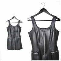 pvc LEATHER mini dress / 90s CLUB KID cyber goth zip down dominatrix dress
