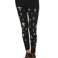 Foil Cross Ankle Legging | Shop Just Arrived at Wet Seal