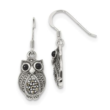 Sterling Silver Marcasite & Black Agate Owl Shepherd Hook Earrings QE11125