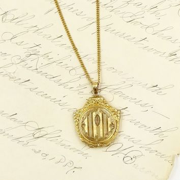 Vintage GOLD FILLED LOCKET Pendant Necklace Hayward 12k Gf Keepsake Photo Locket Pendant Necklace
