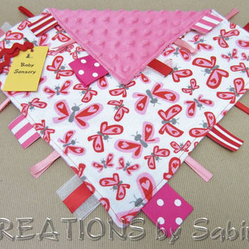 Baby Sensory Tag Blanket Toy, Ribbon Lovie, Blankie, butterflies, hearts, red, pink, white, baby girl READY TO SHIP 159