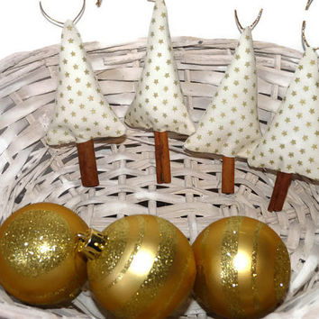 Set of Rustic Christmas Tree Ornament white hearts with golden stars / White Christmas Ornaments / Cinnamon Christmas Tree Ornament